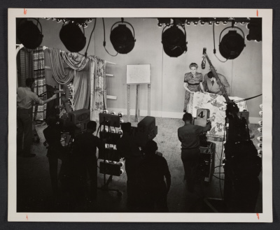 Dorothy Liebes on the set of a television show