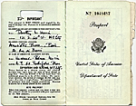 [Dorothy Liebes' passport page 1]
