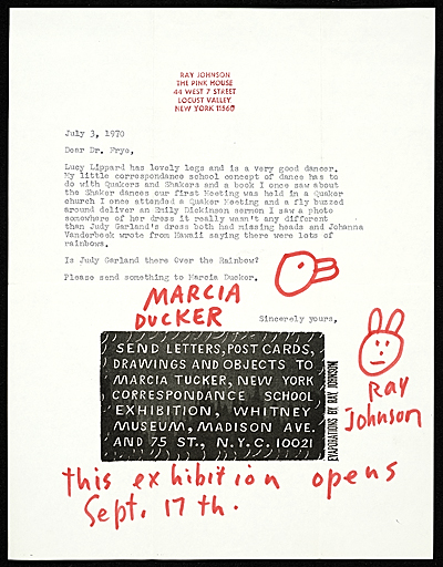 [Ray Johnson, N.Y. letter to Lucy R. Lippard]