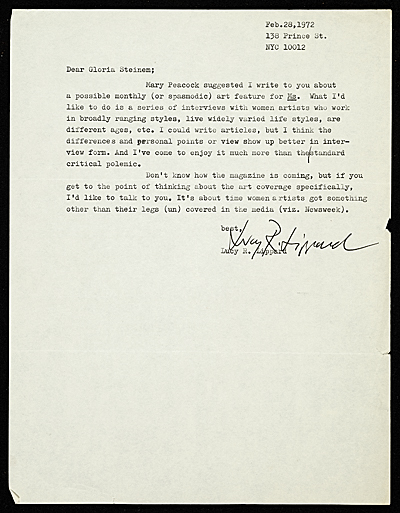 Lucy R. Lippard, New York, N.Y. letter to Gloria Steinem