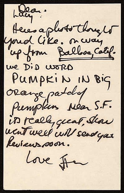 Baxter, San Francisco, Calif. letter to Lucy R. Lippard