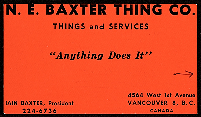 [N.E. Baxter Thing Co. business card]