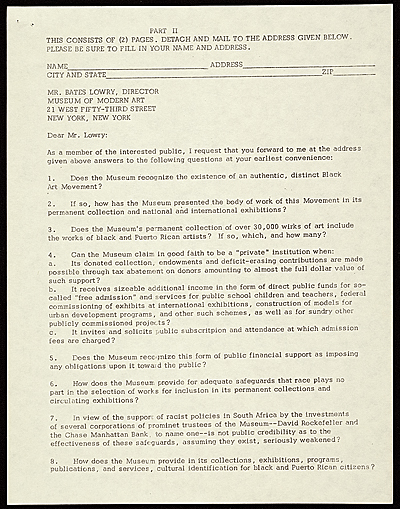 Students and artists protest letter to Bates Lowry, New York, N.Y.