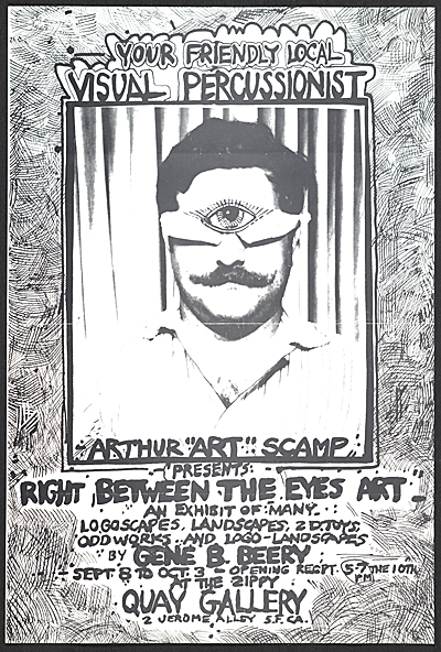 Exhibition poster for Right between the eyes art