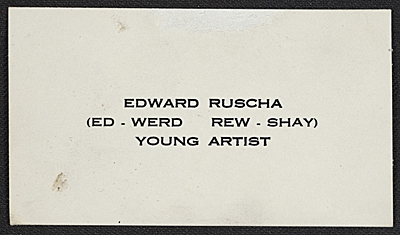 [Edward Ruscha's business card]