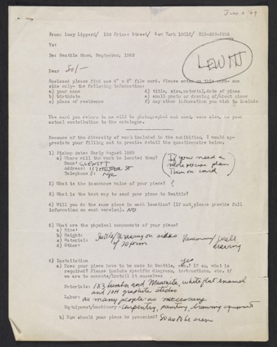 Lucy Lippard questionnaire for the 557,087 show filled out by Sol Lewitt