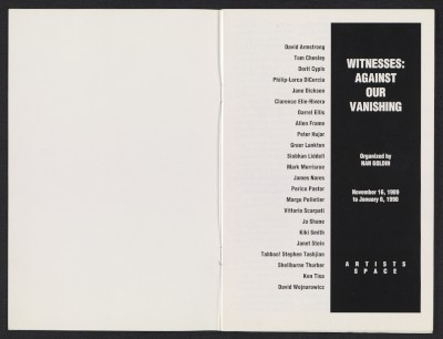 Witnesses: Against Our Vanishing