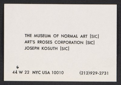 Museum of Normal Art business card for Joseph Kosuth