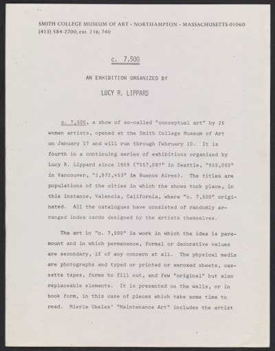 c.7,500: An Exhibition Organized by Lucy R. Lippard