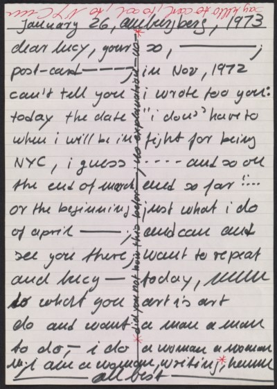 Hanne Darboven letter to Lucy R. Lippard