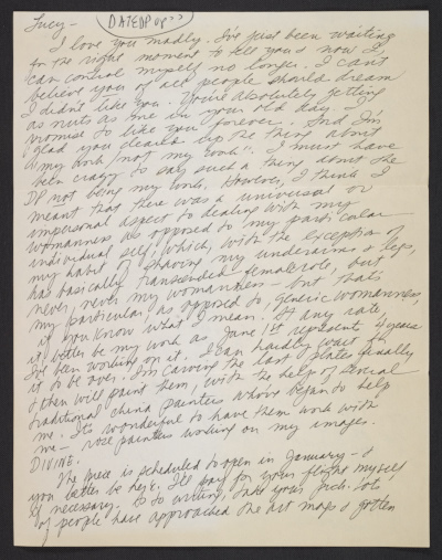 Judy Chicago letter to Lucy R. Lippard