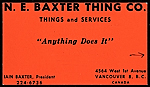 N.E. Baxter Thing Co. business card