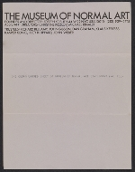 [Sheet of Museum of Normal Art stationery sent from Joseph Kosuth to Lucy Lippard and John Chandler ]
