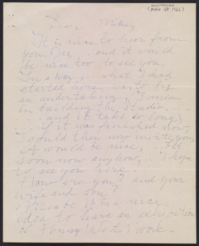Willem de Kooning letter to Michael Loew