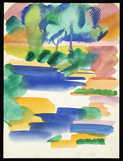 Erle Loran watercolor landscape of water and trees