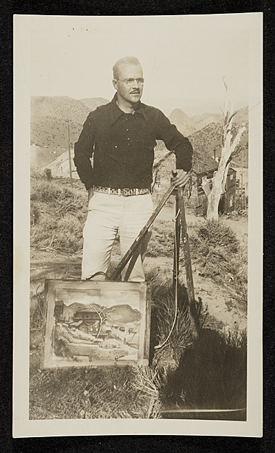 Erle Loran and a painting in Virginia City, Nevada