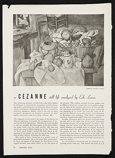 "One of many articles on Cézanne by Erle Loran, ""A Cézanne still life analyzed by Erle Loran"" American Artist, pp. 20-21"