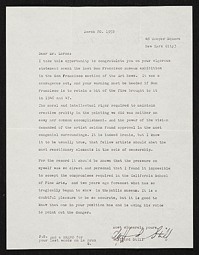 [Clyfford Still, New York, N.Y. letter to Erle Loran, Berkeley, Calif.]