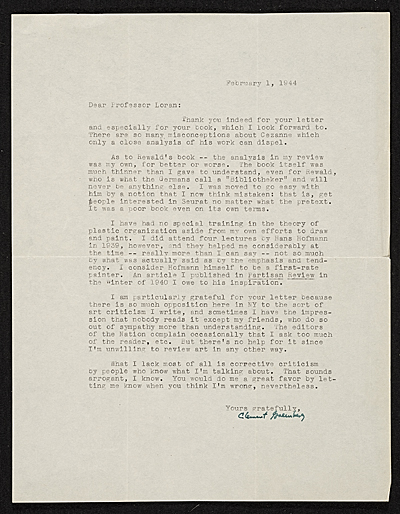 Clement Greenberg, New York, N.Y. letter to Erle Loran, Berkeley, Calif.
