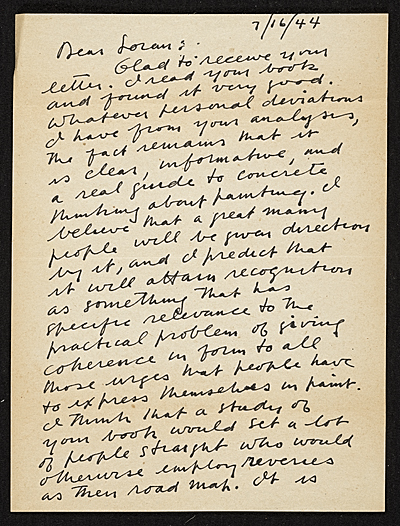[Stuart Davis, New York, N.Y. letter to Erle Loran, Berkeley, Calif.]