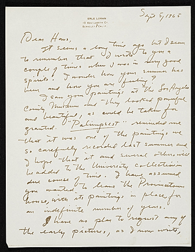 Erle Loran, Berkeley, Calif. letter to Hans Hofmann, New York, N.Y.