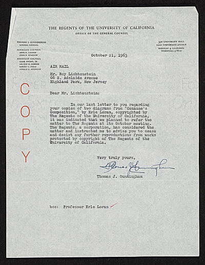 [Thomas J. Cunningham, Berkeley, Calif. letter to Roy Lichtenstein, Highland Park, N.J.]