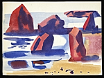 Erle Loran watercolor of rocks in the ocean