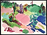 Erle Loran watercolor landscape with hills and trees