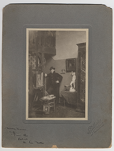 [William Cushing Loring in his studio at 90 Rue d'Assas in Paris, France]