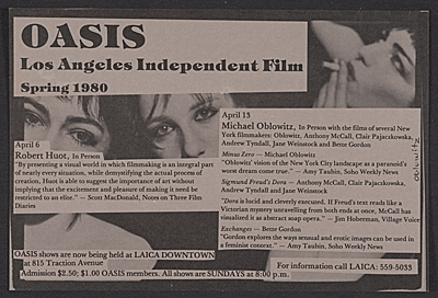 [Flyer for Los Angeles Independent Film Oasis presentations and film screenings]