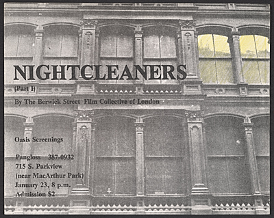 [Advertisement for a screening of Nightcleaners]