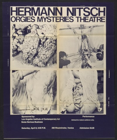 [Exhibition poster for Hermann Nitsch's Orgies mysteries theatre]