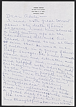 Moses Soyer letter to Adele Lozowick