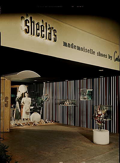 [Storefront display at Sheela's department store]