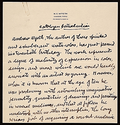 N. C. (Newell Convers) Wyeth, Chadsford, Pa. letter to Robert Macbeth