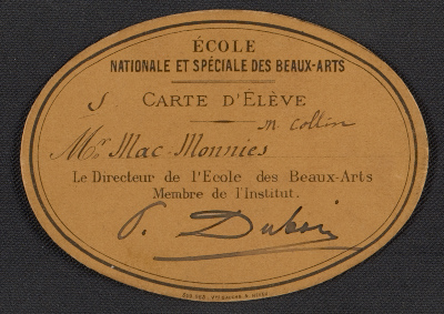 Ecole des Beaux-Arts student card for Frederick William MacMonnies