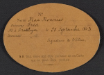 [Ecole des Beaux-Arts student card for Frederick William MacMonnies 1]