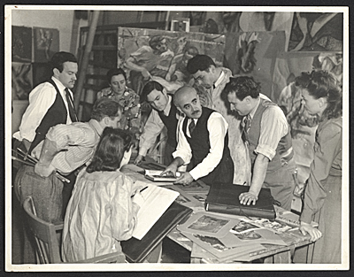 Peppino Mangravite teaching a mural painting class at the Art Institute of Chicago