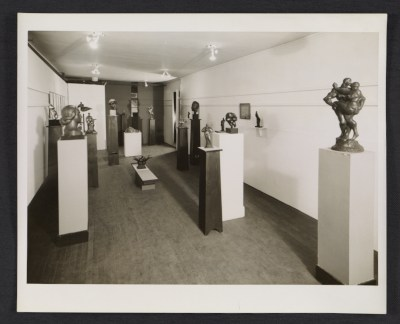 Installation view of a Gaston Lachaise exhibition of sculpture and drawings at the Margaret Brown Gallery