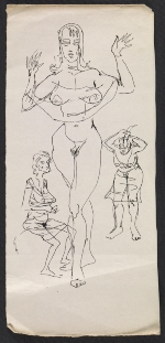 pencil and ink sketches of female figures