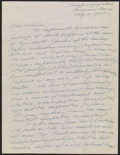 Peggy Bacon letter to Felicia Meyer Marsh