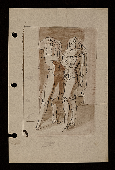 Sketch of two women in high heels