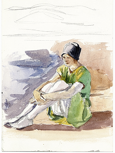 Sketch of a seated girl