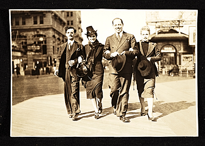 Left to right: Giovanni Martino, his wife Eva Martino, Emidio Angelo (brother-in-law), and his wife Yolanda Angelo (Evas sister) in Atlantic City, New Jersey