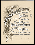 Invitation to the Ceremonies Dedicating the Buildings of the Worlds Columbian Exposition