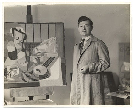 [Jan Matulka with his painting]