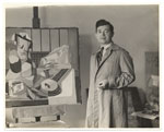 Jan Matulka with his painting