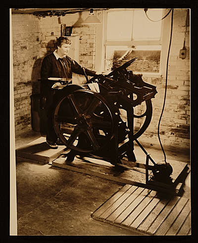 Elizabeth McCausland at her printing press