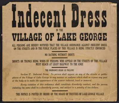 [Notice of dress code in Lake George, N.Y., given to Elizabeth McCausland by Alfred Stieglitz]
