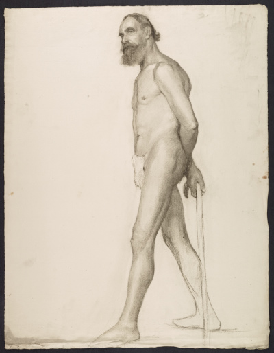 Sketch of an artists model with a cane